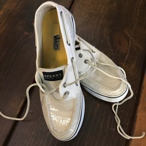 Sperry white with sequins size 8.5